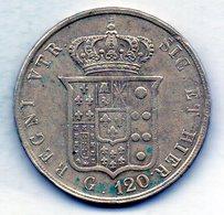 ITALΙAN STATES - NAPOLI & SICILIA, 120 Grana, Silver, Year 1857, KM #C153c - …-1861 : Antes De La Reunificación