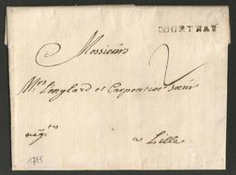 """Belgique - Précurseur - LAC De Courtrai (COURTRAI Cachet Noir) Vers Lille Du 13/06/1755 - Port """"2"""" - 1714-1794 (Pays-Bas Autrichiens)"""