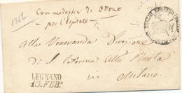 """1856 PREFILATELICA LEGNANO LINEARE NERO CON DATA + """"CON MEDAGLIA DI OTTONE PER L'OSPITALE""""+ PARROCCHIA STO STEFANO - 1. ...-1850 Prefilatelia"""
