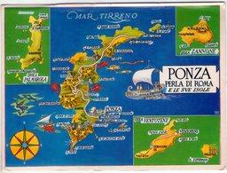 Cartina Di Ponza E Le Sue Isole. (Lt). VG. - Latina