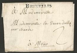 """Belgique - Précurseur - Lettre De Bruxelles (cachet BRUXELLES En Noir) Vers Mons Non Datée - Port """"2"""" - 1714-1794 (Pays-Bas Autrichiens)"""