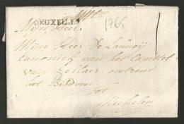 """Belgique - Précurseur - LAC De Bruxelles (cachet BRUXELLES En Noir) Vers Malines Du 28/08/1765 - Port """"1"""" - 1714-1794 (Pays-Bas Autrichiens)"""