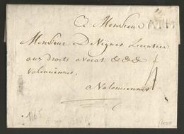 """Belgique - Précurseur - De Ath (ATH Tampon En Creux) Vers Valenciennes De 1765 - Port """"4"""" - 1714-1794 (Pays-Bas Autrichiens)"""