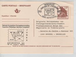 JS709/ Entier CP Oiseau Buzin 15 F CP-BK En Repiquage C.SP Antwerpen 21/36/93 > BXL - Postwaardestukken