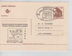 JS710/ Entier CP Oiseau Buzin 15 F CP En Repiquage C.SP Antwerpen 21/3/93 > Archennes - Cartes Postales [1951-..]