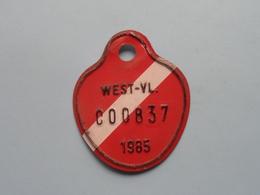 FIETSPLAAT / PLAQUE Vélo ( WEST - VLAANDEREN > N° C00837 ) Anno 1985 ( België ) ! - Plaques D'immatriculation
