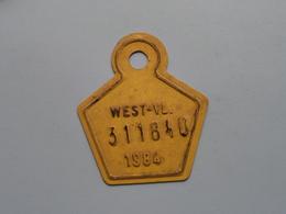 FIETSPLAAT / PLAQUE Vélo ( WEST - VLAANDEREN > N° 311840 ) Anno 1984 ( België ) ! - Plaques D'immatriculation