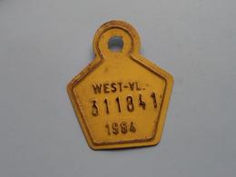 FIETSPLAAT / PLAQUE Vélo ( WEST - VLAANDEREN > N° 311841 ) Anno 1984 ( België ) ! - Kennzeichen & Nummernschilder