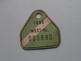 FIETSPLAAT / PLAQUE Vélo ( WEST - VLAANDEREN > N° 000890 ) Anno 1986 ( België ) ! - Plaques D'immatriculation