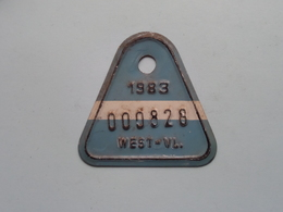 FIETSPLAAT / PLAQUE Vélo ( WEST - VLAANDEREN > N° 000828 ) Anno 1983 ( België ) ! - Kennzeichen & Nummernschilder