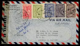 SAUDI ARABIA. 1943. (26 Feb.) Bahrein Island/Persian Gulf To Los Angeles/CA/U.S.A. Airmail Envelope Franked Saudi Arabia - Saudi Arabia