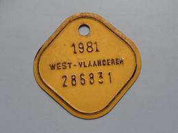 FIETSPLAAT / PLAQUE Vélo ( WEST - VLAANDEREN > N° 286831 ) Anno 1981 ( België ) ! - Plaques D'immatriculation