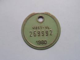 FIETSPLAAT / PLAQUE Vélo ( WEST - VLAANDEREN > N° 269992 ) Anno 1980 ( België ) ! - Plaques D'immatriculation