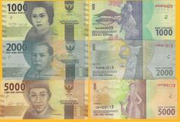 Indonesia Set 1000, 2000, 5000 Rupiah 2016 UNC Banknotes - Indonesia
