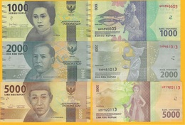 Indonesia Set 1000, 2000, 5000 Rupiah 2016 UNC Banknotes - Indonesië