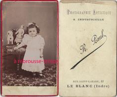 CDV Fillette Et Sesjouets-poupée Et Peluche-photo R. Paul à Le Blanc (Indre) - Anciennes (Av. 1900)