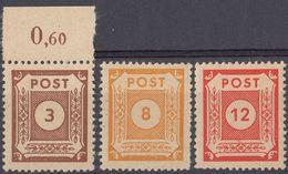 SASSONIA ORIENTALE - 1945 - Lotto Di 3 Valori Nuovi MNH: Yvert 15 E 18/19, Come Da Immagine. - Zone Soviétique