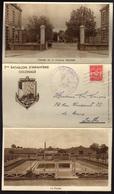 """1952 NANTES - Caserne MELLINET - Carte Triptyque """"2° BATAILLON INFANTERIE COLONIALE"""" Avec Timbre En FM - Cartes De Franchise Militaire"""