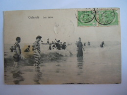 Ostende Oostende Les Bains Baigneurs Baigneuses  Plage  5416 Edition R. L. Circulée -> Nice 1907 - Oostende