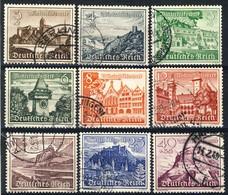 """1939 Germany VF Used  Complete Set Of  9 Stamps """"Castle Set"""" Michel # 730-738 - Duitsland"""