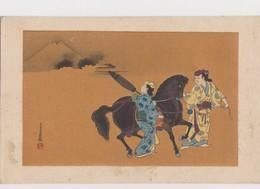 Cpa Japonaise Fantaisie / Femme En Costume  Traditionnel Montant Un étalon Noir . Volcan - Altri