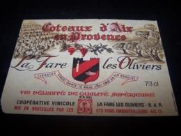Etiquette Vin Wine Label Ancienne Old Antique Provence Coteaux D'aix La Fare Les Oliviers - Rouges