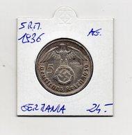 "Germania - 1936 - 5 Reichsmark - ""D"" - Argento - (MW2716) - [ 4] 1933-1945 : Troisième Reich"