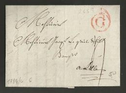 """Belgique - Précurseur - De Gand (""""G"""" En Rouge Dans Un Cercle) Vers Lille Du 13/01/1784 - Port """"4"""" - 1714-1794 (Pays-Bas Autrichiens)"""