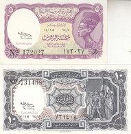 EGYPT 5 10 PT. PIASTRES 1958 P-176c 177c SIG/H Salah Water Mrk LETTERS SET UNC - Egypt