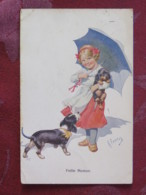 France 1913 Postcard Girl And Dogs To France - Cani