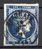 GRECE (Royaume) - 1872-76 - N° 37 - 20 L. Bleu - (Tête De Mercure) - (Avec Chiffre Au Verso) - 1861-86 Grands Hermes