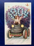 """Embossed-Gaufrée--""""Ange Pilote La Voiture De Fleurs De 1904""""-(my Ref 504) - Angeli"""