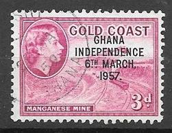 1957 Queen Elizabeth, Independence Overprint, 3p, Used - Ghana (1957-...)