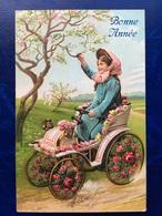 """Embossed-Gaufrée--""""Jeune Fille Pilote Voiture-belle époque""""-(my Ref 507)-1909 - Nouvel An"""