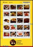 Ref. BR-V2019-25 BRAZIL 2019 FOOD, DRINKS, TYPICAL BRAZILIAN FOODS,, GASTRONOMY, UPAEP, SHEET MNH 20V - Levensmiddelen