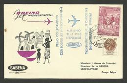31.05.1960 / Primo Collegamento Con Boeing MILANO - LEOPOLDVILLE - CONGO BELGE / Cie SABENA - 1946-.. République