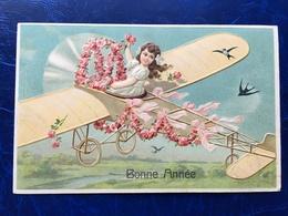 """Embossed-Gaufrée--""""Fille Pilote D'un Aéroplane à Hélice-début Du 19ième Siècle""""-(my Ref 514)-1911 - Nouvel An"""