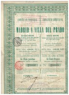 Titre Ancien - Compañia Del Ferrocarril -Compagnie Du Chemin De Fer De Madrid A Villa Del  Prado - Titulo De 1889 - - Chemin De Fer & Tramway