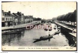 CPA Amiens Vue Sur La Somme Bateaux Barques Pecheur Peche - Amiens