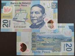 MEXICO 2020 $20 JUAREZ POLYMER Banknote Series AE Sub. E Mint Crisp, Scarce Thus - Mexico