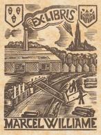 Ex Libris Marcel Williame - Jef Leysen (Antwerpen) (met Serieuze Foxing) - Ex-libris