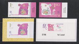 Singapore 2020 Rat Year 2v Set + Booklet Stamp + ATM Frama Machine Label Mint - Singapour (1959-...)