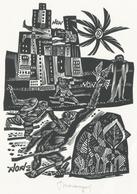 Nieuwjaarskaart  Carta Di Capodanno 1964 Tranquillo Marangoni - Tranquillo Marangoni (1912-1992) Gesigneerd - Prenten & Gravure