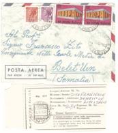 VIA AEREA X SOMALIA MOD.22 ANNULLO BEL ET UEN - 6. 1946-.. Repubblica