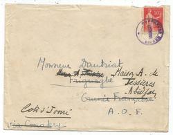 PAIX 50C CACHET VIOLET CHARGEURS REUNIS AMERIQUE LETTRE AU DOS COTONOU POUR  FRIOUTAGBE 29 AVRIL 1935 GUINEE FRANCAISE - 1932-39 Frieden