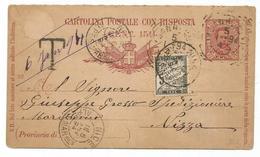 TAXE 5C NOIR NICE ALPES MMES 6 JANV 1894 SUR ENTIER ITALIE REPONSE 7 1/2C SAN REMO - Marcophilie (Lettres)