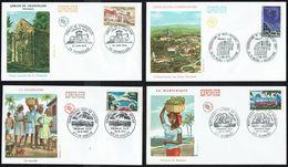 Y/T N° 1644 à 1647 S/ 4 FDC - Oblitérations Diverses - Touristique: Martinique, Dordogne, Guadeloupe, Haute-Provence.. - FDC