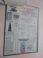 """"""" L'AUTAC """" ( Ancien Ets P. Blatgé ) ( Shaler / Defiance Spark Plugs ) > BRUXELLES - Anno 1933 ( Zie/Voir Foto ) Taxe ! - Automobilismo"""