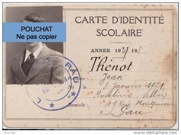 64) PAU - CARTE D ' IDENTITÉ SCOLAIRE ANNÉE 1937 - 1938 - LYCÉE LOUIS BARTHOU  - (2 SCANS) - Documents Historiques