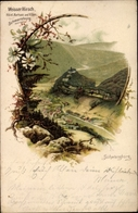 Lithographie Schwarzburg Im Schwarzatal Thüringen, Hotel Weißer Hirsch, Blick Ins Tal - Deutschland